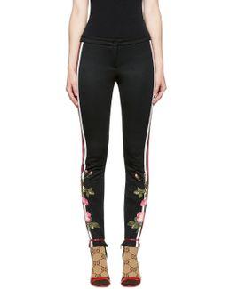 Black Embroidered Floral Leggings