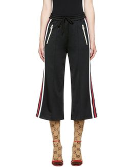 Black Cropped Wide-leg Track Pants