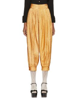 Gold Lurex Crepe Bloomer Trousers