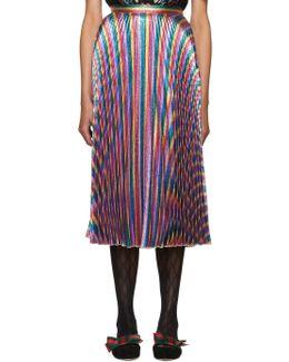 Multicolor Lurex Plissé Skirt