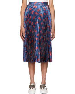 Blue & Red Lurex Bow Plissé Skirt