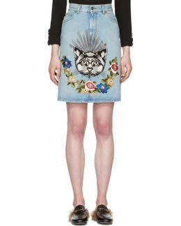 Blue Denim Cat Skirt