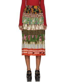 Multicolor Silk Patchwork Skirt