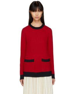 Red Elegant Crewneck Sweater