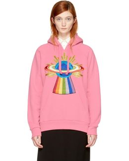Pink Oversized Embroidered Saturn Hoodie