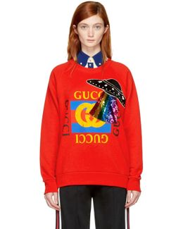 Red Embroidered Ufo Sweatshirt