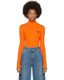 Orange Fine Wool Turtleneck