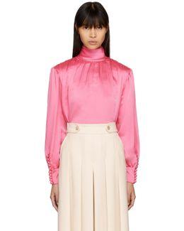 Pink Silk Turtleneck Blouse