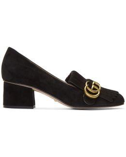 Black Suede Gg Marmont Loafer Heels