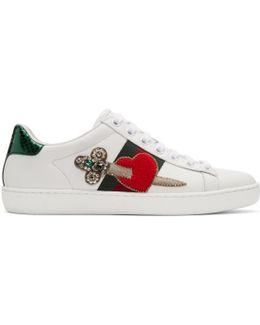 White Pierced Heart Ace Sneakers