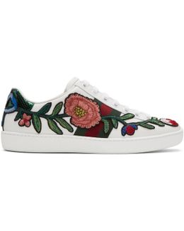 White Floral & Bow Ace Sneakers