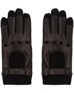 Black Layered Driving Gloves