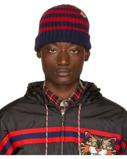 Red & Navy Striped Wool Beanie