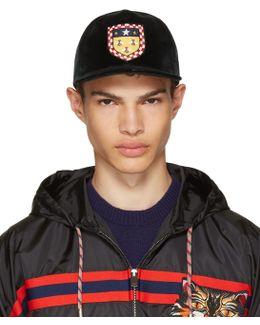 Green Velvet Crest Baseball Cap