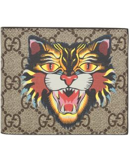 Beige Angry Cat Gg Supreme Wallet