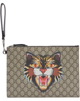 Beige Gg Supreme Angry Cat Pouch