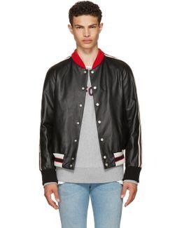 Black Leather 'hollywood' Bomber Jacket