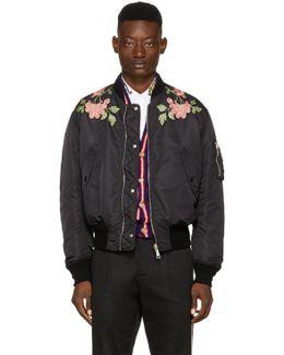 Black Nylon 'modern Future' Bomber Jacket