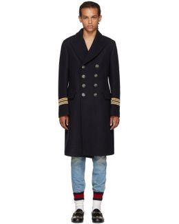 Navy Wool 'hollywood' Coat
