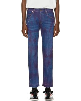 Blue Stonewashed Tapered Jeans