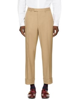 Tan Rolled Cuff Trousers