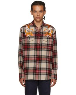 Multicolor Embroidered Check Shirt