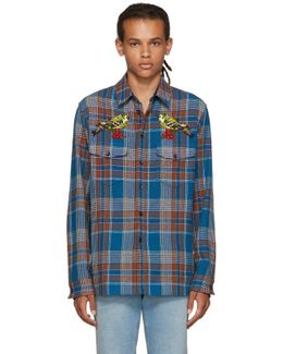 Multicolor Embroidered Check Bird Shirt