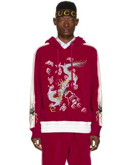 Red Velour Embroidered Hoodie