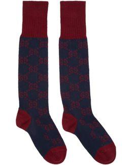 Navy & Red Long Gg Socks