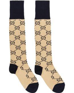 Beige & Navy Gg Socks