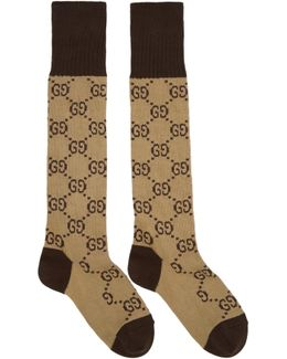 Beige & Brown Long Gg Socks