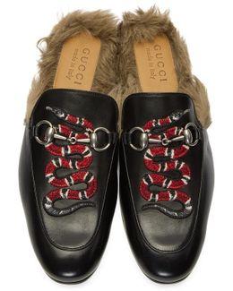 Black Snake Fur Princetown Slippers