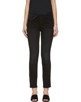 Black 'le High Straight' Jeans