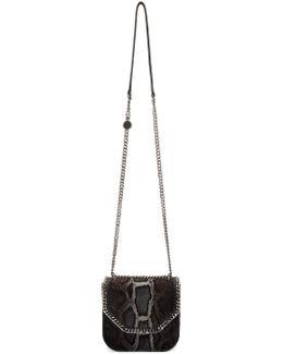 Grey & Black Mini Python Falabella Box Bag