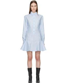 Blue Poplin Ruffle Dress
