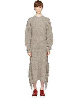 Beige Cashmere Fringed Sweater Dress