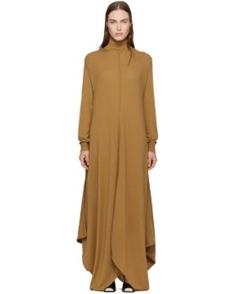 Tan Wool Turtleneck Dress