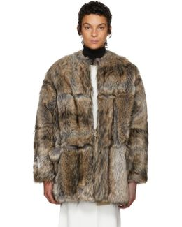 Grey & Beige Faux-fur Elina Coat
