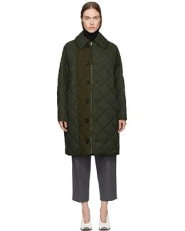 Green Quilted Long Coat