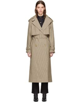 Tan Houndstooth Trench Coat