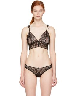 Ophelia Whistling Stretch-leavers Lace And Satin Soft-cup Bra