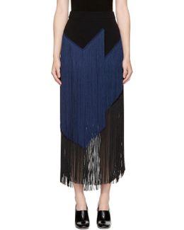 Black & Navy Veronica Fringe Skirt