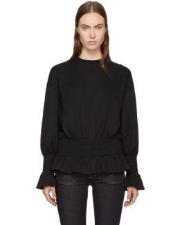 Black Ruffle Crewneck Sweatshirt