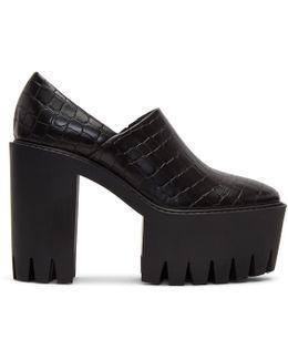 Black Croc Platform Heels