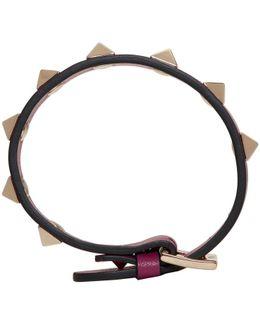 Purple Garavani Leather Rockstud Bracelet