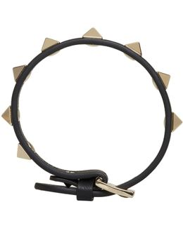 Black Leather Single Rockstud Bracelet