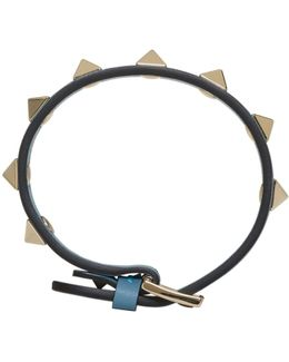 Blue Leather Single Rockstud Bracelet