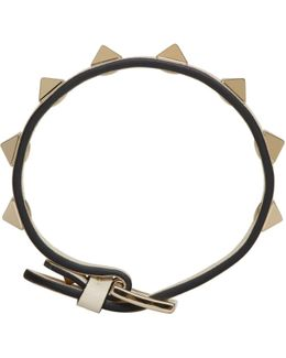 Ivory Leather Single Rockstud Bracelet