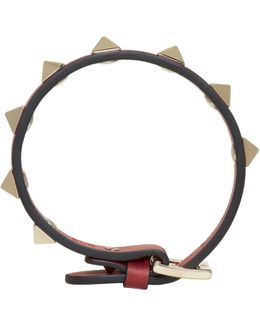 Red Leather Rockstud Bracelet