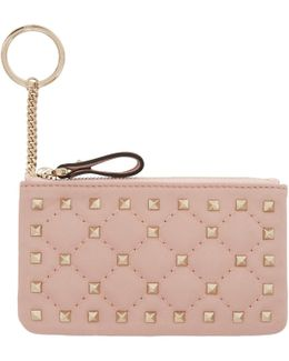 Pink Rockstud Spike Coin Pouch